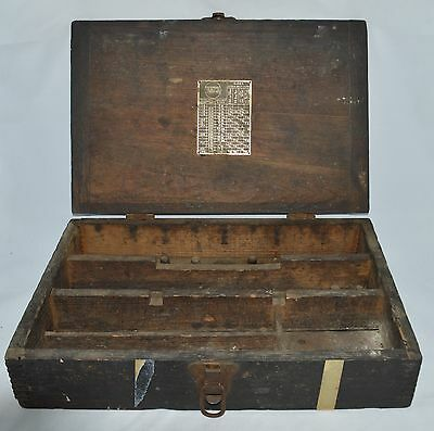 Antique 1910s 1920s Walden Worcester Wrench Socket Tool Box Dovetailed Joints