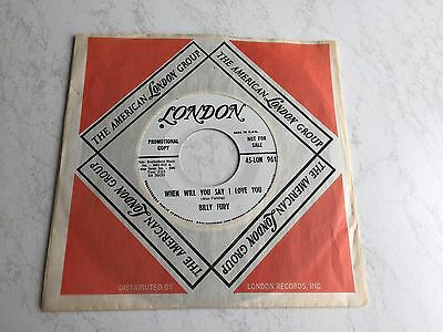 "Billy Fury  Collector US Promo '45 ""Don't walk away/When will you say I love you"