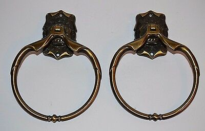 Vtg Two Amerock Carriage House Brass Bathroom Towel Rings 6''