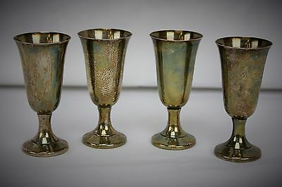 Set of 4 Vintage Wallace Sterling Silver Small Water / Wine Goblets