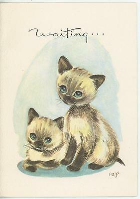 Vintage Modern Retro Siamese Cats Kitten Blue Eyes Cute Greeting Card Art Print