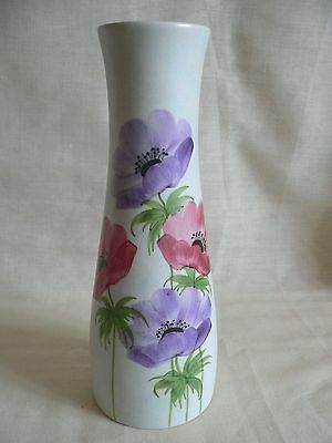 Vintage Radford pottery tall vase decorated with anemones