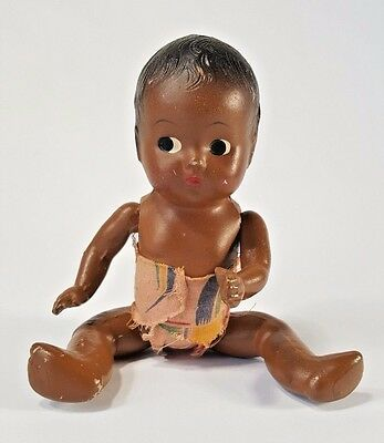 "Vintage 9"" Baby Doll Composition Black Americana Jointed Limbs Sideways Eyes"