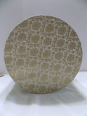 Vintage Hat Box Hat Storage Round Unbranded Gold & White  (R3-2)