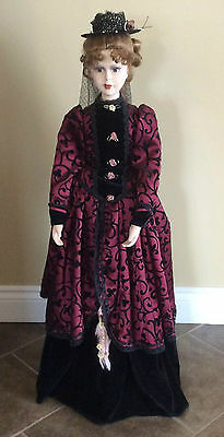 3.5 Ft Victorian Porcelain Doll Formal Style Wine Black Clothing Delicate Detail