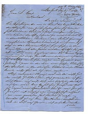 "German,civil War Era Letter,ny 1862,to Business In Germany,about ""rebellion"" Etc"