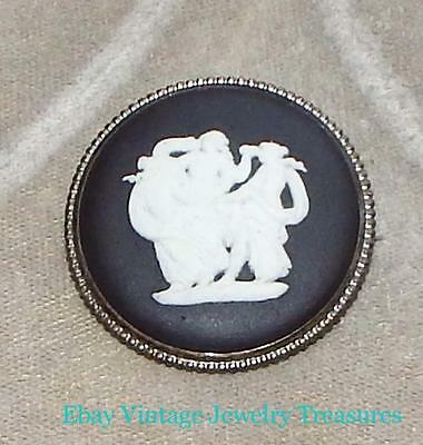 Vintage Black Wedgewood Cameo Sterling Silver Pin RARE Estate Lot