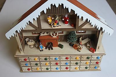 Wooden Light Up Christmas Scene Advent Calendar with 24 drawers - new