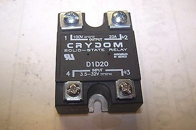 New Crydom D1D20 Solid State Relay 20 Amp 100 Vdc Output 3.5-32 Vac Input