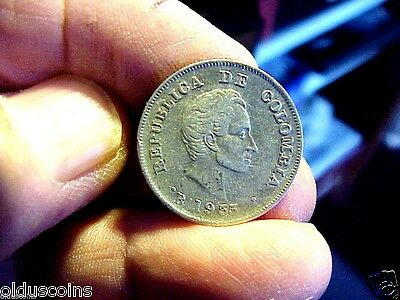 """Columbia: 1933 20 Centavos Double """"b"""" Mint Mark And Double Date Error Bb 0116"""