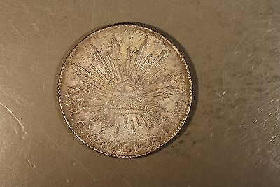 1892 Ca Mexico 8 Reales Silver Nice Details Toned      ** FREE U.S. SHIPPING **