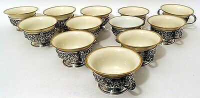 Sterling repousse bouillon cups,12, Baltimore Rose, Schofield Company, Baltimore