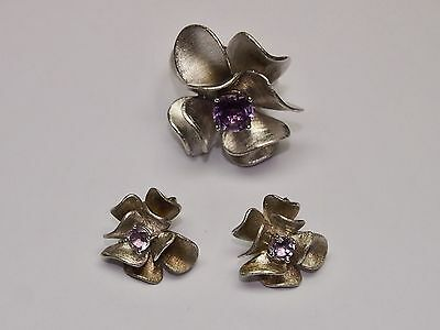 925 STERLING SILVER SET: RING and EARRINGS with AMETHYST STONES
