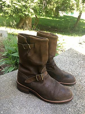 Men's Chippewa Brown Suede Leather Motorcycle Engineer Boots Sz 11.5 D