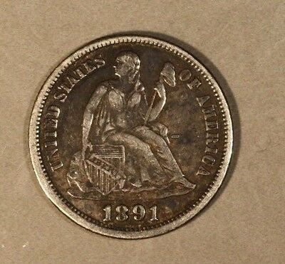1891 Liberty Seated Dime Lightly Circulated             ** FREE U.S SHIPPING**