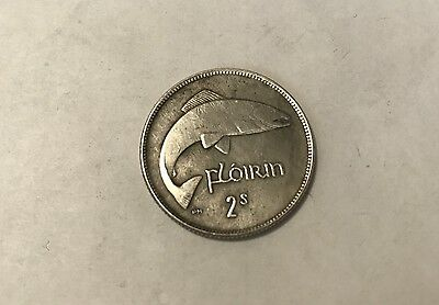 "Coin 1 florin (2 shillings) 1943, ""The salmon"", Ireland silver"
