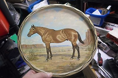 Vintage 1966 Metal  Horse Plate-Tray By Jeanne Mellin