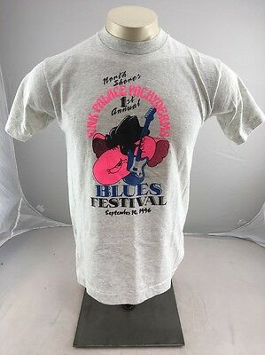 Vtg 1996 North Shore's Pink Palace Pachyderms Blues souvenir tshirt M Neon USA
