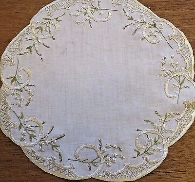 Antique Vintage Doily Embroidered Society Silk Embroidery Craft Projects Use