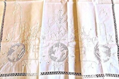 Antique Vintage Pillow Sham Layover Cover Embroidered Cotton Angel Embroidery