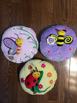 3 ~ Ganz 3D Bumble Bugs Pillow Pink Purple Yellow Kids Bedroom Bed Decor NEW
