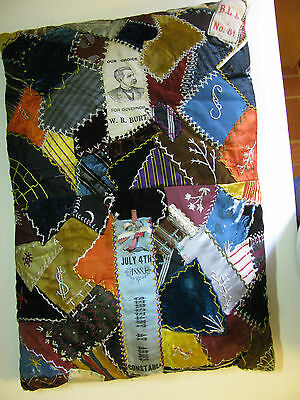 Antique Crazy Quilt Pillow Ribbon July 4Th 1888 Old Needs Repair Embroidery