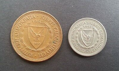 Cyprus 1963 Five 5 mils and 25 mils coins