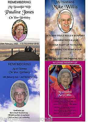 A5 Personalised With Photo Birthday/anniversary/remembrance/grave/memorial Card