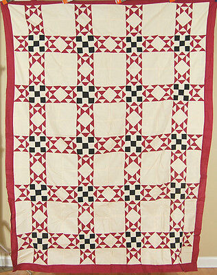 GORGEOUS Vintage 40s Feathered Star Nine Patch Antique Quilt Top ~MINT CONDITION