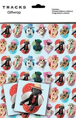Gift Wrap Present Wrapping Paper Cute Dogs Puppies On Blue With Matching Tags