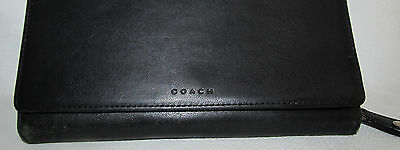 Womens Coach Black Soft Leather Large Zip Around Checkbook Wallet Clutch