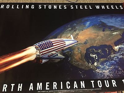 VINTAGE ROLLING STONES STEEL WHEELS 1989 North American TOUR POSTER STILL SEALED