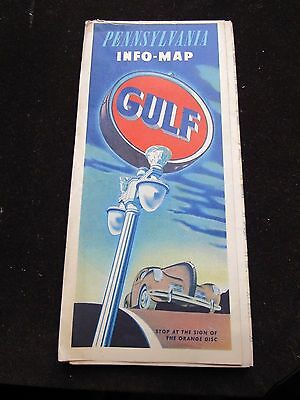 1940s Gulf Oil Gas service station Pennsylvania State road map-CLASSIC Info-Map!
