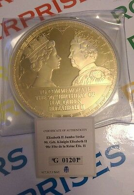 Windsor Mint 90th Birthday Queen Elizabeth II Gold Plated 100mm Coin #01201/2016