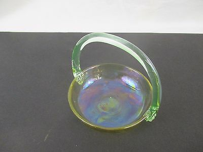 Diminutive Glass Basket - Vaseline Handle Round Bowl - Morgantown?