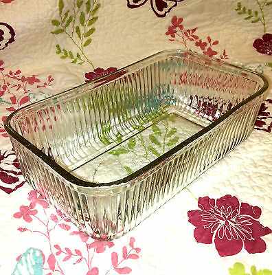 1 Vintage Glass Refrigerator Dish *No Lid* Clear Glass Ribbed Rectangular Bowl