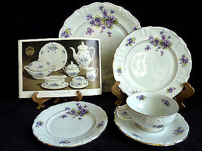 "Royal Castle ""Violets of the Alps"" Bavarian China Germany 5 Piece Service Set"