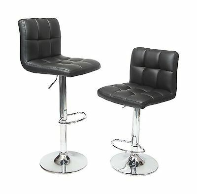 Roundhill Swivel Black Leather Adjustable Hydraulic Bar Stool Set of 2