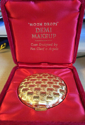 1960's Revlon Moon Drops powder gold tone Van Cleef & Arpels compact velvet box