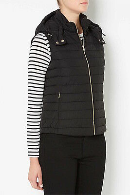 Witchery Sleeveless Hooded Trim Puffer Vest Sz 8 Woman in Black $149.95 RRP NWT