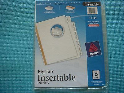 """New -1 - Avery 11124 Big Tab Insertable Dividers 8 Tabs - 8 1/2"""" X 11"""""""