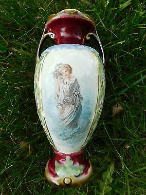 Antique Majolica Vase With Beautiful Woman
