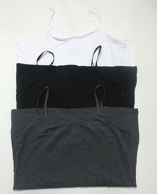 Felina Women's Cotton Stretch Camisole Tops 3-Pk Char/Black/White Size S NWOT