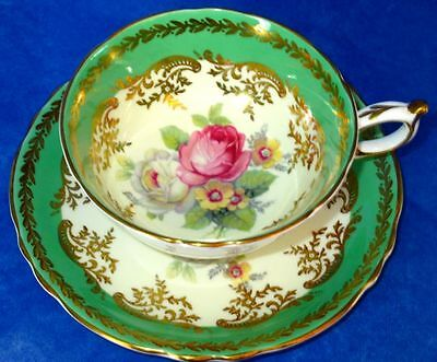 Paragon Gorgeous Pink White Roses Green Gold Fine Bone China Cup & Saucer
