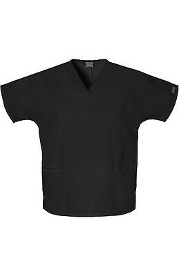 Cherokee Workwear Scrub Top Women's V-neck 2 Pocket Size Small BLACK #4700 New
