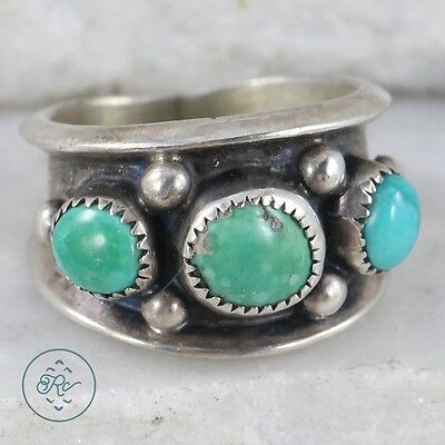 Vintage Sterling Silver | NAVAJO Pebbled Turquoise Trio Cigar Band | Ring (4.5)