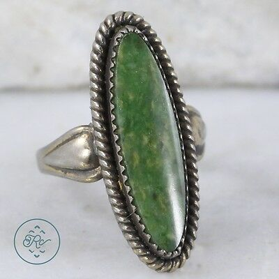 Sterling Silver | NAVAJO Elongated Oval Cut Green Turquoise 5.2g | Ring (4.25)
