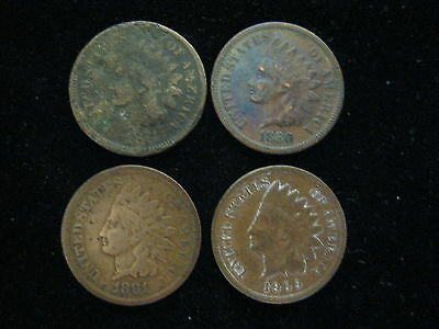 4 Coin Lot Indian Head Cent One Cent Coins 1874 1880 1881 1909