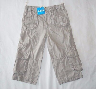 Ouch Boys Cargo Beige Grey Shorts Pockets Adjustable Waist - Size 12 NEW