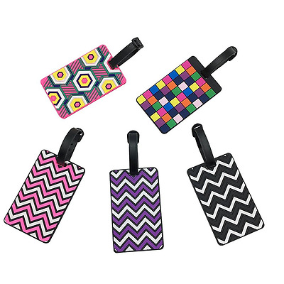 Set of 5 Colorful Luggage Suitcase Tags Labels ID Tags Safety Travel Bags